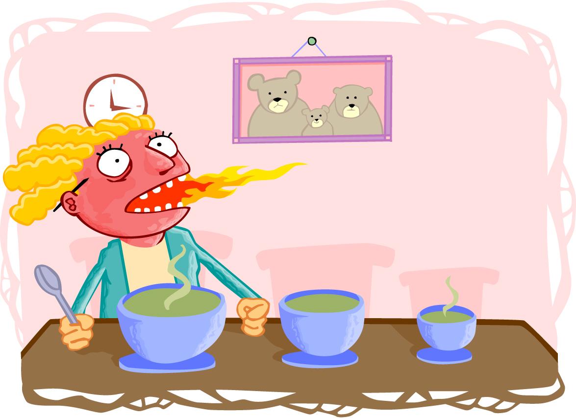 Image result for goldilocks eating hot porridge
