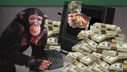 Clip Art of a 3d Monkey Character with Tons of Money by Julos - #396