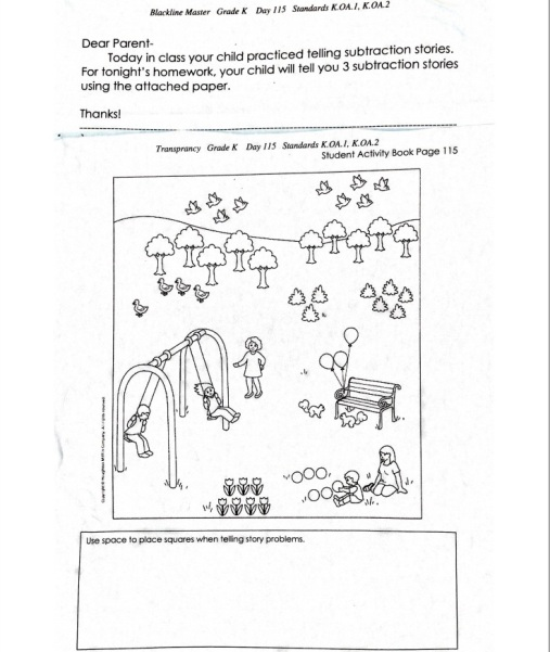 Kindergarten homework problems – Common Core Subtraction Worksheets