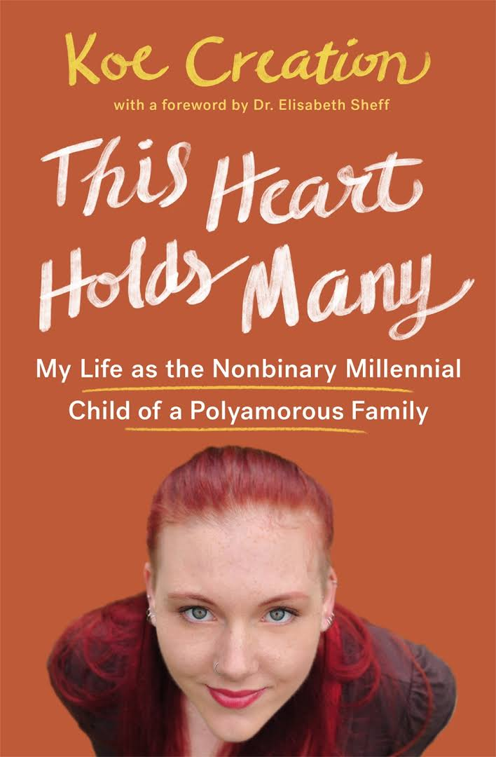 The image shows the cover of a book with the words This Heart Holds Many and an image of a white-skinned, female appearing perso