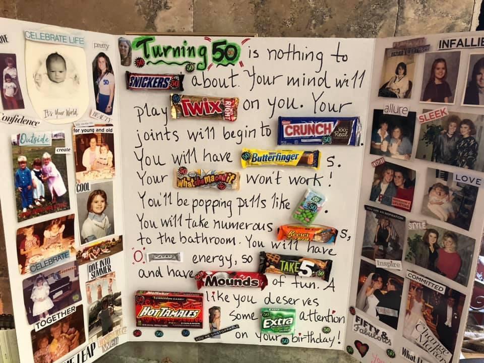Suzie's milestone birthday billboard her sister Lisa made