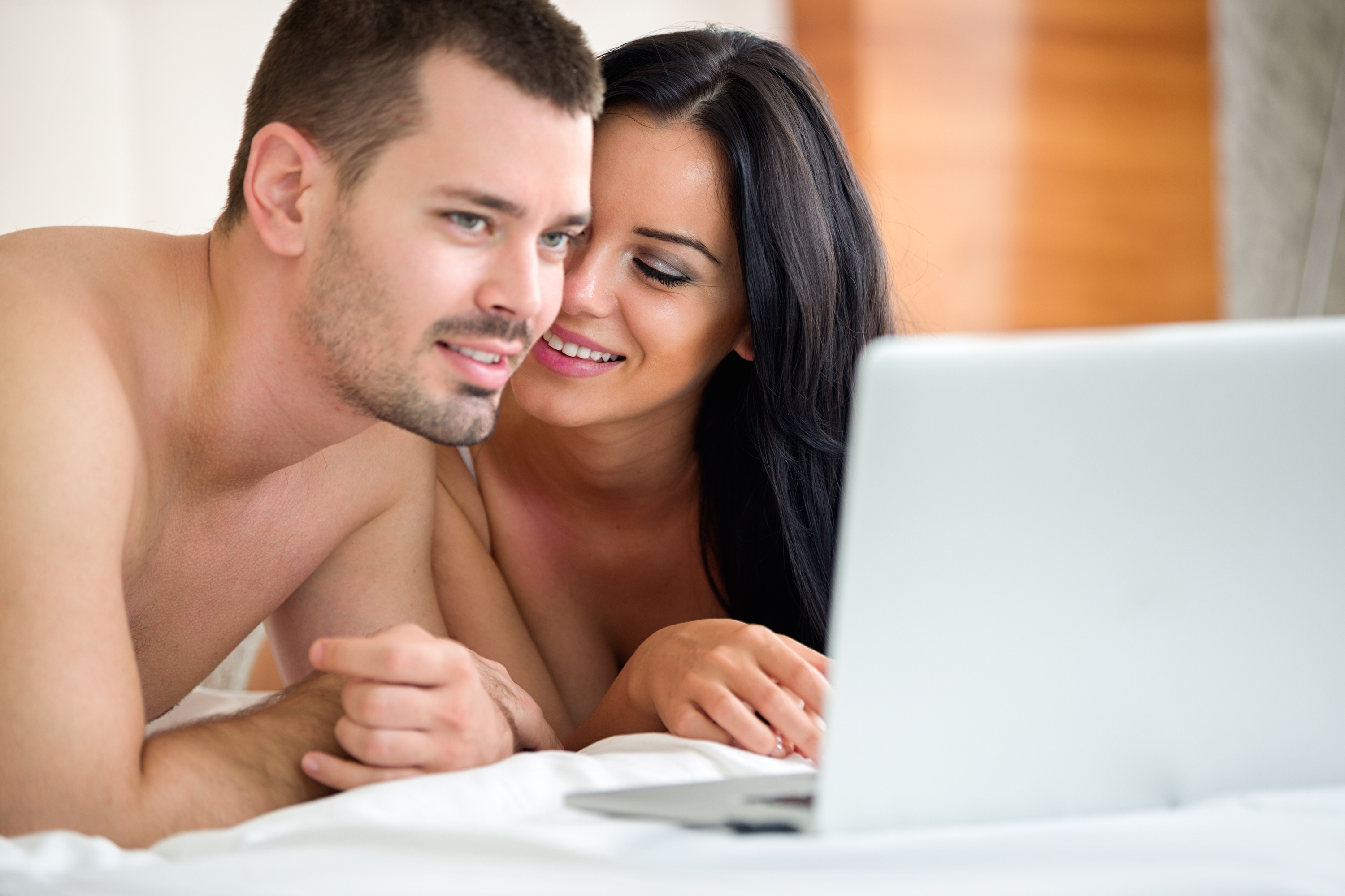 Porn couple together watching