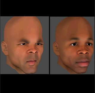 The stimuli used in the actual research were facial photographs (presented in sequence, not simultaneously).  This image original by D.T. Kenrick, used with permission.