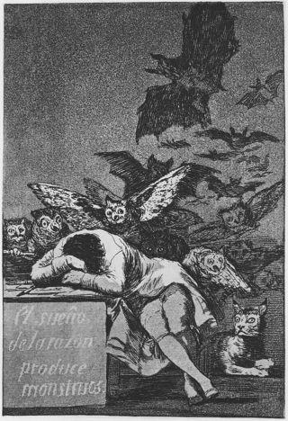 Francisco Goya  (1746–1828)/Caprichos image #43, El sueño de la razón produce monstruos.  (The sleep of reason brings forth monsters.)