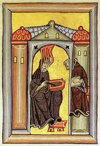 Miniatur aus dem Rupertsberger Codex des Liber Scivias. Public Domain