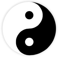 """Yin and Yang"" by Klem - This vector image was created with Inkscape by Klem, and then manually edited by Mnmazur.. Licensed under Public Domain via Wikimedia Commons"