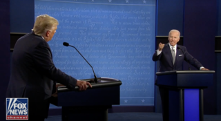 Snapshot taken by the author from the online video of the debate