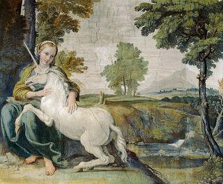 """Virgin and Unicorn (A Virgin with a Unicorn)"" by Domenichino/Wikimedia Commons, public domain"