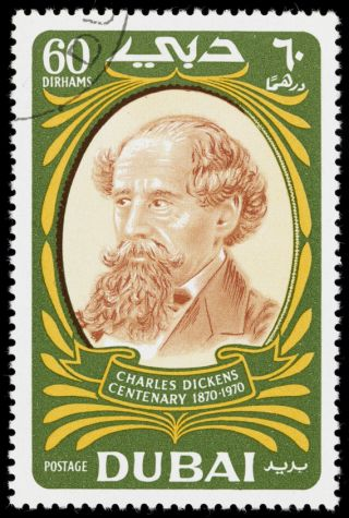 Charles Dickens stamp from Dubai