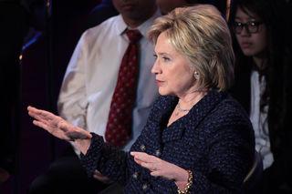 Hillary Clinton palm down