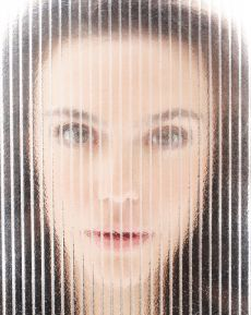 glass mosaic of a young woman's face