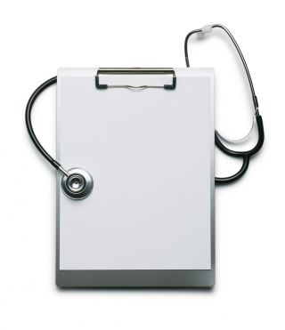 Dr's clip board and stethoscope