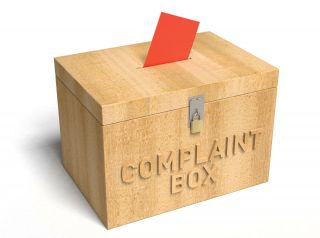 Complaint box with card sticking out