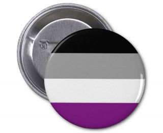 Button with black, gray, white and purple stripes on it