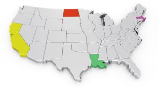 USA map w/ CA, ND, LA & MA highlighted