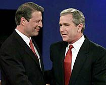 Bush and Gore debating