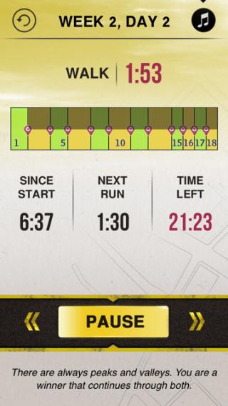 screen shot of 5k runner app