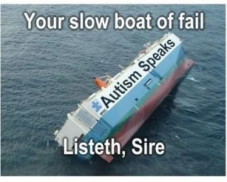 Meme showing sinking Autism Speaks ship
