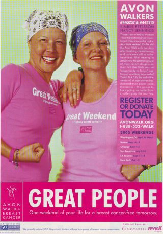 """Avon Walk for Breast Cancer,"" Self Magazine October (2004): 121"