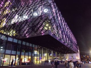 Birmingham Library, at night
