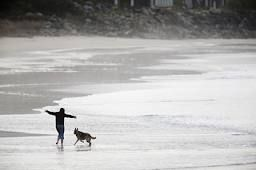 Black and white photo of person on beach with dog in distance