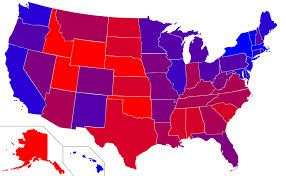 A political map of the United States with red, blue, and purple states