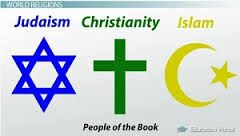 Symbols and words for Judaism, Christianity, and Islam