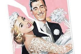 A white couple in wedding clothes with a rip down the center of the image
