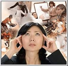 A woman with her hands on her head surrounded by images of people and things.
