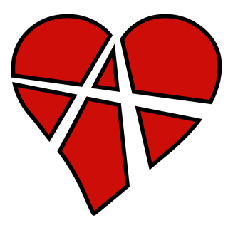 A heart shape with the anarchy symbol