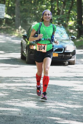 Linda running Hamptons Marathon