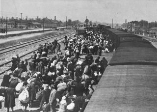 May 1944 Jews from Carpathian Ruthenia arrive at Auschwitz-Birkenau