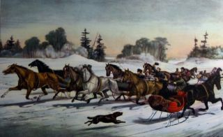 Currier and Ives print -- dashing through the snow.