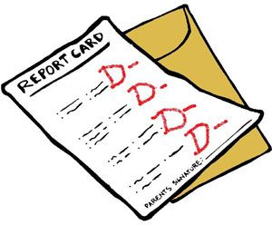 Report card with Ds