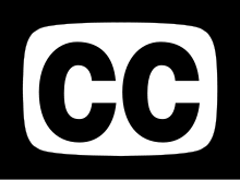 The closed captioning symbol, a TV surrounding the letters