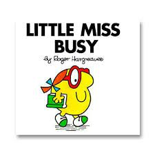 Picture of Little Miss Busy children's book; cartoon character on front