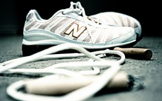Jump rope and exercise shoes