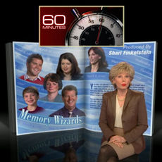 Lesley Stahl in front of intro screen for segment Memory Wizards