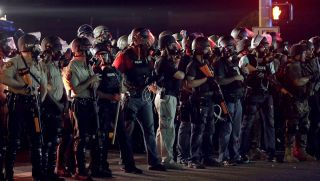 Police in Ferguson wearing