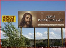 jesus billboard near adult video store