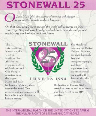 Stonewall 25 flyer - pink triangle with laurel leaves around it.