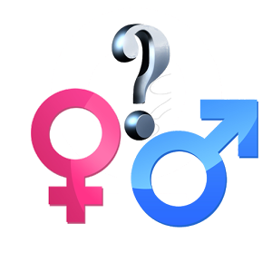 male + female symbols with question mark