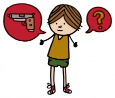 Boy with speech bubbles of gun and question mark