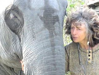 Elke with temple elephant, India.