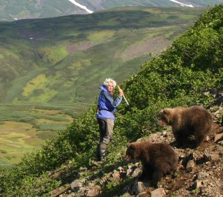 Charlie Russell with friends in Kamchatka.