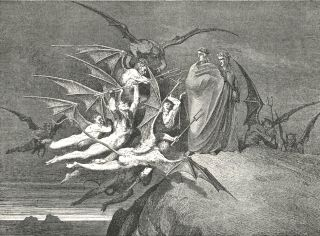 Dante's inferno, old lithograph.