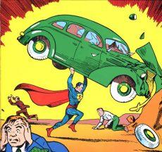 Superman lifting a car