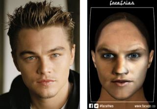 Leonardo DiCaprio and animated, talking avatar of his his female self