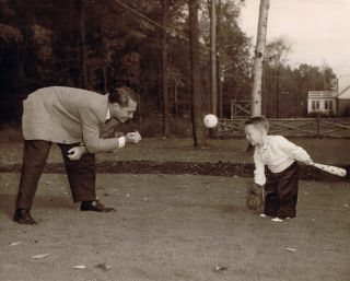 Dad and me playing ball -- circa 1956