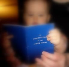 Baby reads constitution